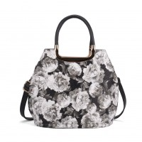VK5307 Grey - Hot Sale Classic Floral Print Metal Tote Bag