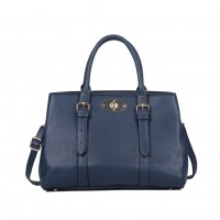 VK5315 Dark Blue - Simple Buckle Detail Tote Bag
