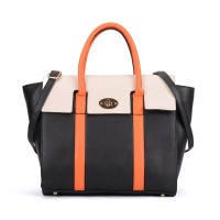 VK5316 Orange - Oversized Lock Winged Tote Bag