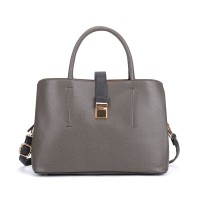 VK5318 Dark Grey - Metal Lock Boxy Tote Bag With Crossbody Straps