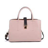 VK5318 Pink - Metal Lock Boxy Tote Bag With Crossbody Straps