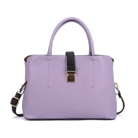 VK5318 Purple - Metal Lock Boxy Tote Bag With Crossbody Straps