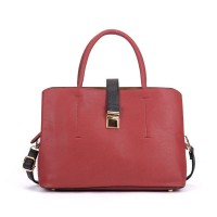 VK5318 Red - Metal Lock Boxy Tote Bag With Crossbody Straps