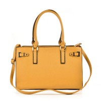 VK5320 Yellow - Metal Boxy Tote Bag With Shoulder Strap