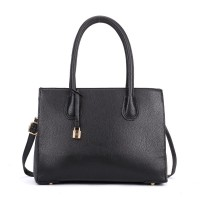 VK5321 Black - Large Boxy Tote Bag With Lock Decoration
