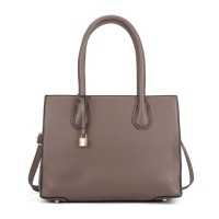 VK5321 Camel - Large Boxy Tote Bag With Lock Decoration