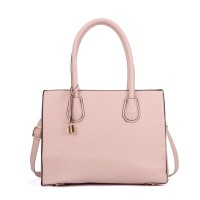 VK5321 Pink - Large Boxy Tote Bag With Lock Decoration