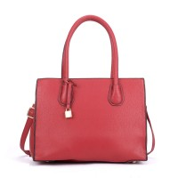 VK5321 Red - Large Boxy Tote Bag With Lock Decoration