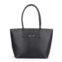 VK5323 Black - Classic Large Box Winged Tote Bag