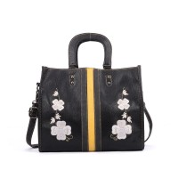 VK5324 Black - Boxy Structured Tote Bag With Floral Embroidery