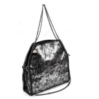 VK5326-1 Grey - Retro Bucket Bag With Chain Handel