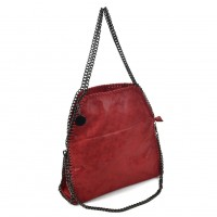 VK5326-1 Red - Retro Bucket Bag With Chain Handel