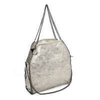 VK5326-1 Silver - Retro Bucket Bag With Chain Handel