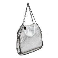 VK5326-1 White - Retro Bucket Bag With Chain Handel