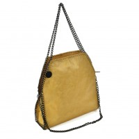 VK5326-1 Yellow - Retro Bucket Bag With Chain Handel