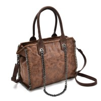VK5326 Brown - Hot Sale Chain Weave Side Bucket Bag