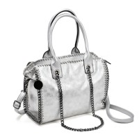 VK5326 White - Hot Sale Chain Weave Side Bucket Bag