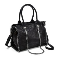 VK5327-1 Black - Retro Bucket Bag With Chain Handel