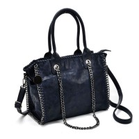 VK5327-1 Blue - Retro Bucket Bag With Chain Handel