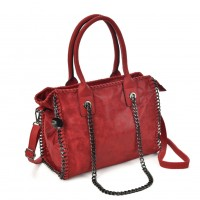 VK5327-1 Red - Retro Bucket Bag With Chain Handel