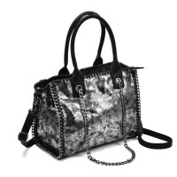 VK5327-1 Silver - Retro Bucket Bag With Chain Handel
