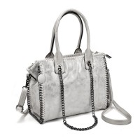 VK5327-1 White - Retro Bucket Bag With Chain Handel