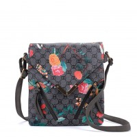 VK5333 Grey - Floral Zip Detail Cross Body Bag With Metal Bar