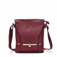VK5339 Purplish Red - Hollowed-out Design Cross Body Bag