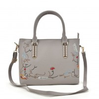 VK5363 Beige - Embroidery Tote Bag With Metal Detail