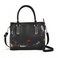 VK5363 Black - Embroidery Tote Bag With Metal Detail