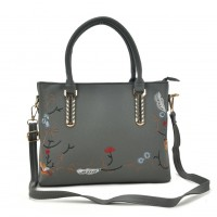 VK5363 Grey - Embroidery Tote Bag With Metal Detail