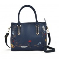 VK5363 Navy - Embroidery Tote Bag With Metal Detail
