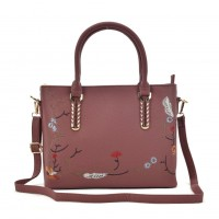 VK5363 Pink - Embroidery Tote Bag With Metal Detail