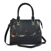 VK5364 Black - Embroidery Tote Bag With Metal Detail