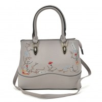 VK5364 Grey - Embroidery Tote Bag With Metal Detail