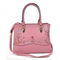 VK5364 Pink - Embroidery Tote Bag With Metal Detail