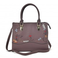 VK5364 Purple - Embroidery Tote Bag With Metal Detail