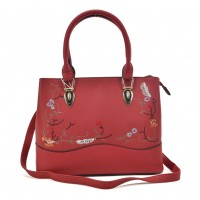VK5364 Red - Embroidery Tote Bag With Metal Detail