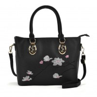 VK5365 Black - Embroidery Tote Bag With Metal Detail