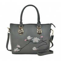 VK5365 Grey - Embroidery Tote Bag With Metal Detail
