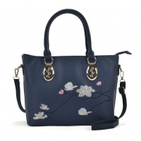 VK5365 Blue - Embroidery Tote Bag With Metal Detail