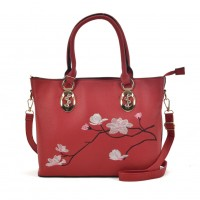 VK5365 Red - Embroidery Tote Bag With Metal Detail
