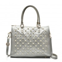 VK5368 White - Tote Bag With Studded & Pearl Detail