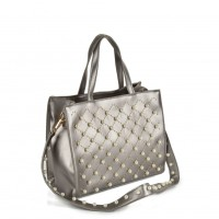 VK5369 Grey - Studded & Pearl Women Tote Bag