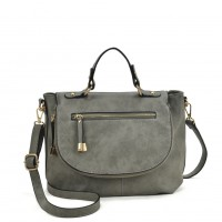 VK5372 Grey - Women Fashion Tote Bag With Zip