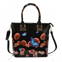 VK5375 Black - Patent Tote Bag in Floral & Butterfly Print