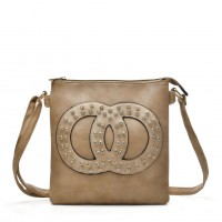 VK5377 Apricot - Cross Body Bag With Jewel Decoration