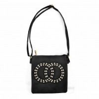 VK5377 Black - Cross Body Bag With Jewel Decoration