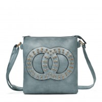 VK5377 Light Blue - Cross Body Bag With Jewel Decoration