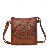 VK5377 Brown - Cross Body Bag With Jewel Decoration